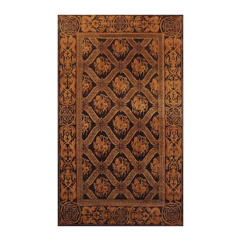 Hand Knotted Pictorial Charcoal,Brown Tibetan Wool Transitional Oriental Area Rug (6x9) - 5' 9'' x 8' 7''