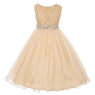 Girls Gold Lace Crystal Tulle Rhinestone Junior Bridesmaid Dress 8-14