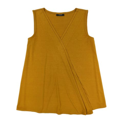 ALFANI Womens Orange Sleeveless V Neck Top Size XL