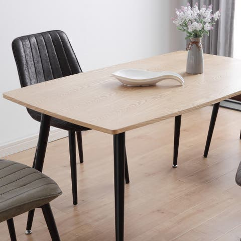 Oak and Black Rectangle Dining Table - 51.2-in