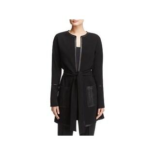 Elie Tahari Womens Long Coat Crepe Leather Trim