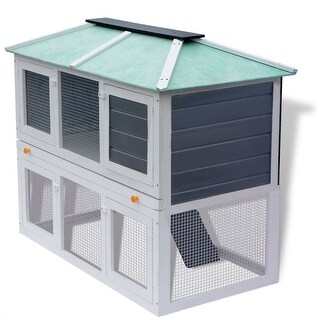 vidaXL Animal Rabbit Cage Double Floor Wood