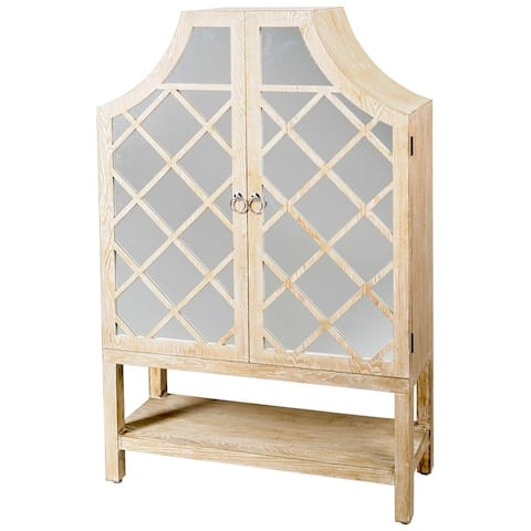"Mercana Belgate II 53.2"" H Whitewashed Wood Lattice Glass Door Display Cabinet - 34.7L x 14.0W x 53.2H"