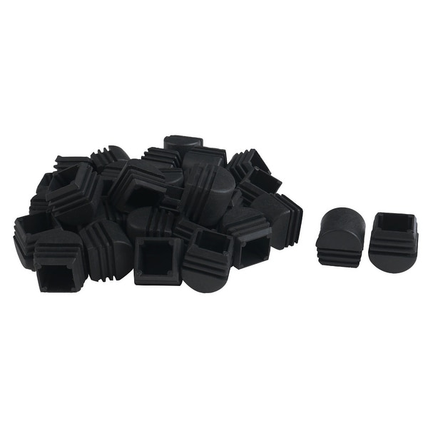 50pcs 25 x 25mm Plastic Domed Square Ribbed Tube Inserts End Cover Caps