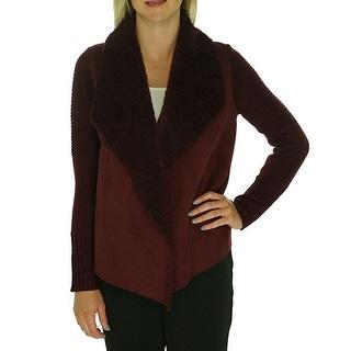 Grace Elements Sweater Sleeve Faux Shearling Draped Front Jacket