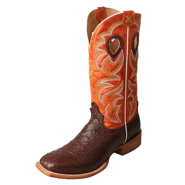 Twisted X Western Boots Mens Ruff Stock Gold Buckle Tobac