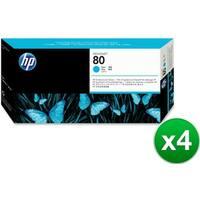 HP 80 Cyan DesignJet Printhead & Printhead Cleaner (C4821A) (4-Pack)