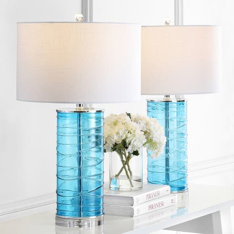 "Cole 27.5"" Modern Fused Glass Cylinder LED Table Lamp, Turquoise (Set of 2) by JONATHAN Y"