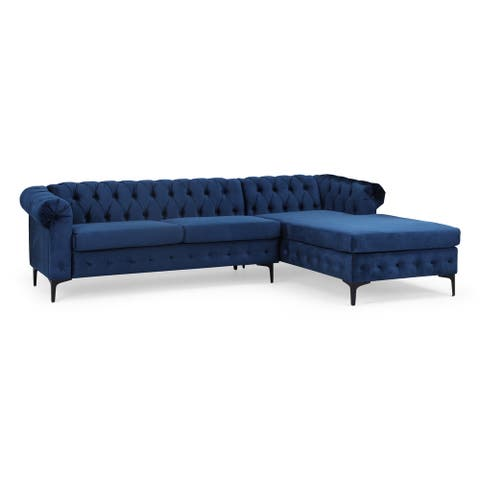 Burland Contemporary 3 Seater Sectional Sofa with Chaise Lounge by Christopher Knight Home