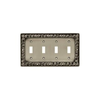 Franklin Brass 64041 Paisley Series Quad Wall Plate - brushed satin pewter