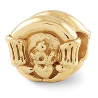 Sterling Silver Reflections Gold-plated Claddagh Bead (4mm Diameter Hole)