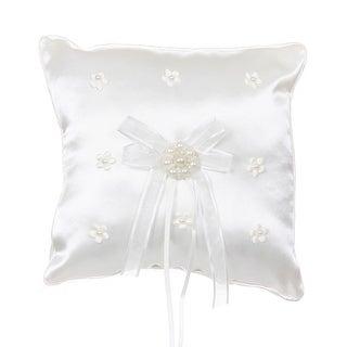 Ivory Satin Pearls Daisy Ribbon Decorated Elegant Ring Bearer Pillow
