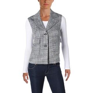 Anne Klein Womens Vest Tweed Coated
