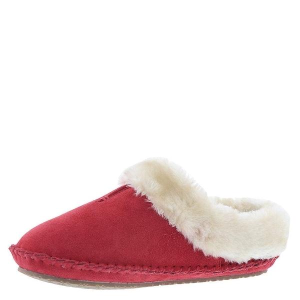 Minnetonka Womens Cailee Leather Closed Toe Slip On Slippers