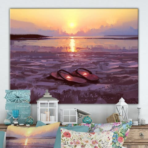 Designart 'Flip flops with lovely hearts on the beach at sunset' Cottage Canvas Wall Art