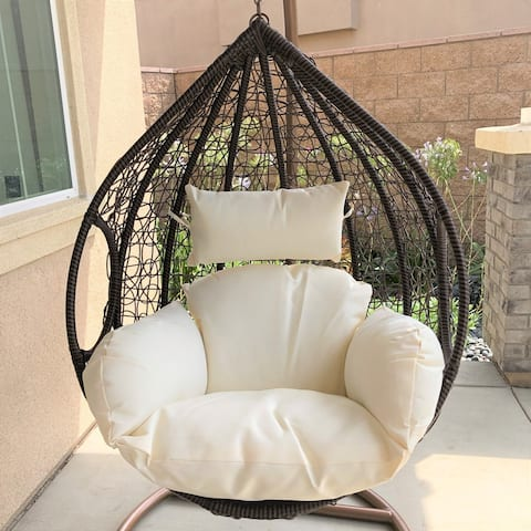Hanging One Piece Wicker Chair With Stand