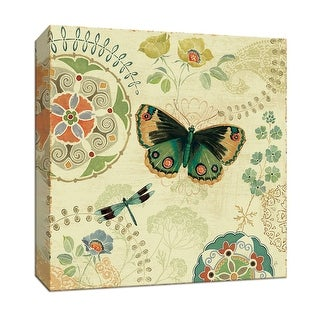 """PTM Images 9-152859  PTM Canvas Collection 12"""" x 12"""" - """"Folk Floral II"""" Giclee Butterflies and Dragonflies Art Print on Canvas"""