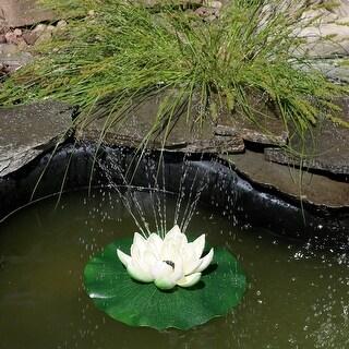 Sunnydaze White Floating Lotus Flower Solar-Powered Water Fountain Kit - 48 GPH