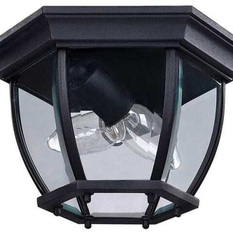 "Canarm IOL60 Foyer 2 Light 11"" Wide Outdoor Flush Mount Ceiling Fixture"