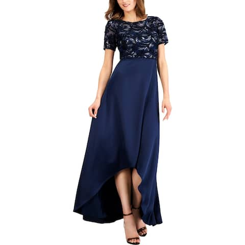 Adrianna Papell Womens Evening Dress Metallic Embroidered - Midnight
