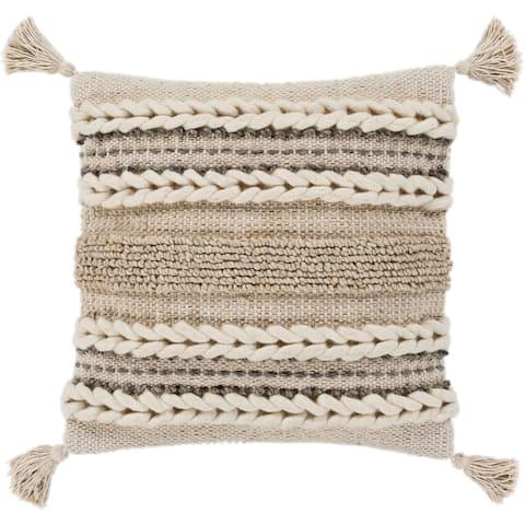 "Goa Taupe Bohemian Tassel Wool Throw Pillow Cover (30"" x 30"")"