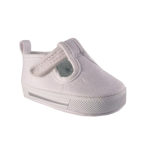 Baby Deer Unisex White Canvas T-Strap Casual Soft Sole Sneakers
