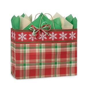 "Pack Of 25, Vogue 16 X 6 X 12"" Christmas Plaid Snowflake Bags W/Kraft Paper Twist Handles Made In Usa"