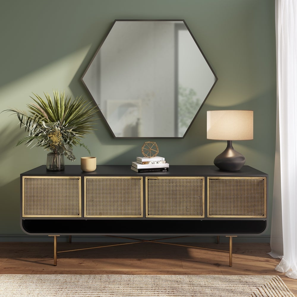 Modern Antique Brass and Iron Sideboard