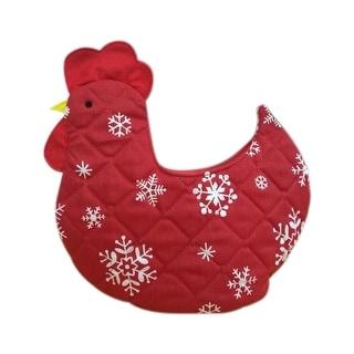 Organic Multipurpose Decorative Chicken Shaped Fabric Egg Storage Basket - Red with White Stars Design