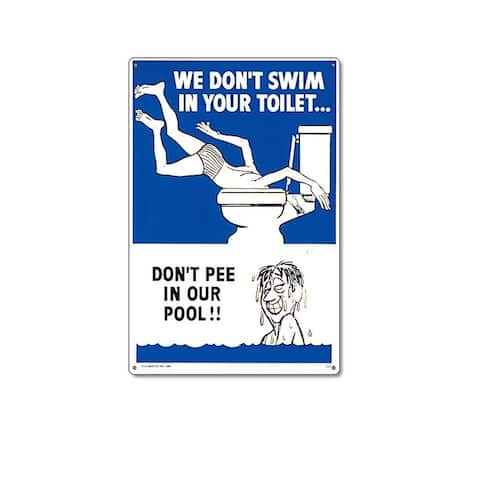 """18"""" Blue and White Funny Residential Swimming Pool Sign"""