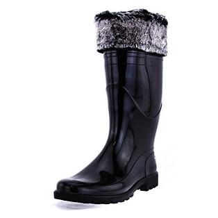 Tommy Hilfiger Womens MATTY Faux Fur Closed Toe Mid-Calf Rainboots