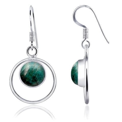 Amazonite,Turquoise Sterling Silver Round Dangle Earrings by Orchid Jewelry