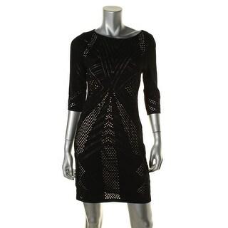Calvin Klein Womens Petites Perforated 3/4 Sleeves Sweaterdress