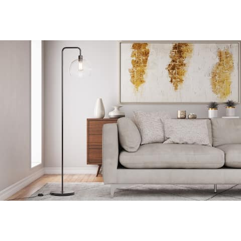 """61.5"""" Metal Floor Lamp w/ Slim-line Arched Design & Clear Seeded Glass Shade"""