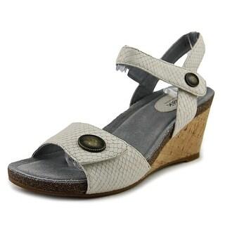Softwalk Jordan Women N/S Open Toe Leather Gray Wedge Sandal