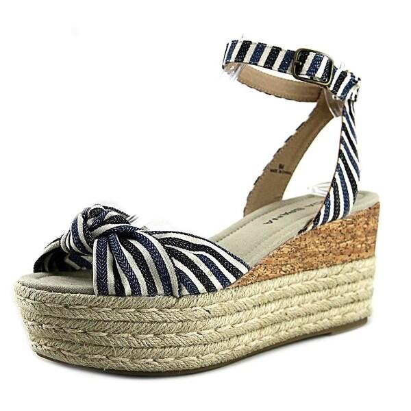 Moda Spana Taylor Women Open Toe Canvas Blue Wedge Sandal