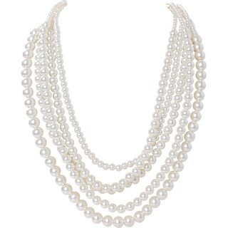 Humble Chic Multistrand Simulated Pearls - Long Layered Statement Necklace