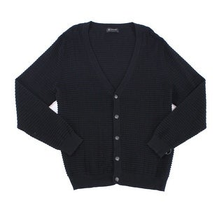 INC NEW Deep Black Mens Size Small S Cardigan Textured Solid Sweater