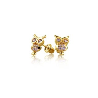 Bling Jewelry 14K Gold Pink CZ Owl Animal Baby Safety Screwback Studs