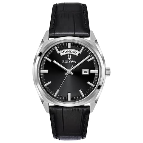 Bulova Men's 96C128 Stainless Black Dial Leather Strap Watch - Silver-Tone