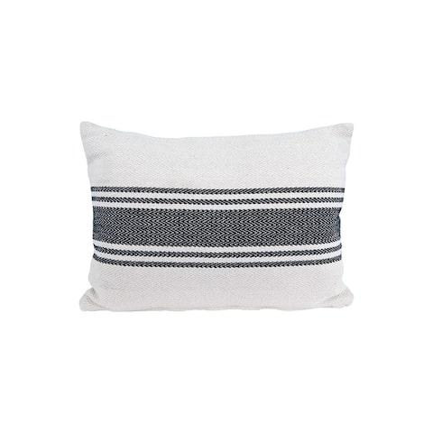 Cream Rectangle Cotton Pillow with Grey Stripes