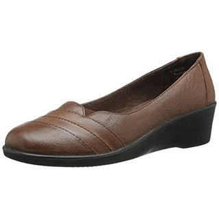 Easy Street Womens Marsh Leather Wedge Round-Toe Shoes