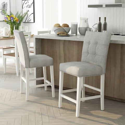 Furniture of America Tia Transitional White Counter Chairs (Set of 2)