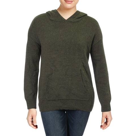 Sanctuary Womens Hooded Sweater Wool Blend Ribbed Trim - Heather Prosperity Green - XL