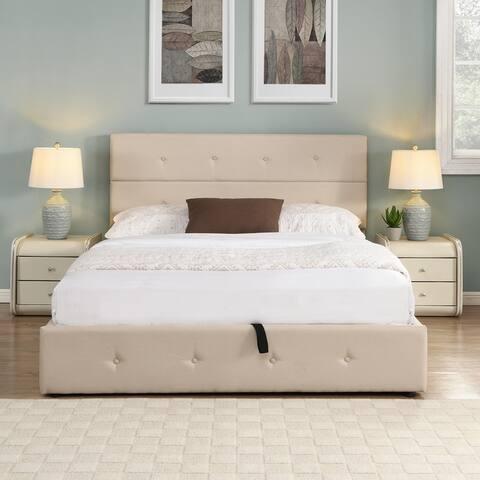 Queen Size Upholstered Platform Bed with Underneath Storage,Beige