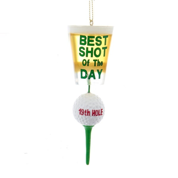 """4.25"""" 19th Hole Golfball and Tee """"Best Shot of the Day"""" Golfer Christmas Ornament - green"""