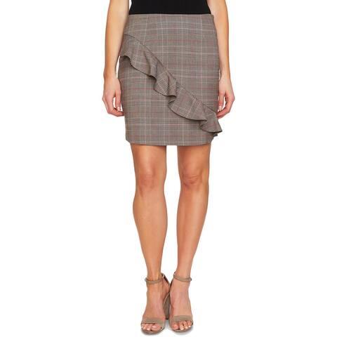 CeCe Womens Straight Skirt Plaid Ruffled