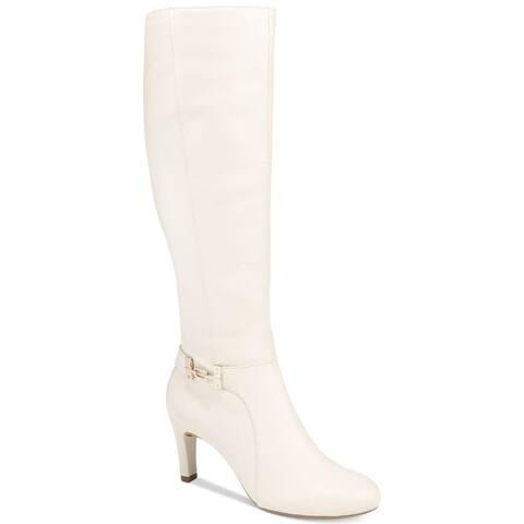 Bandolino Womens Lamari Leather Almond Toe Mid-Calf Fashion Boots