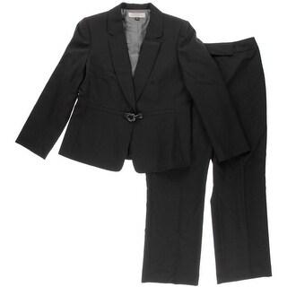 Tahari ASL Womens Petites Stanley Pinstripe 2PC Pant Suit - 14P