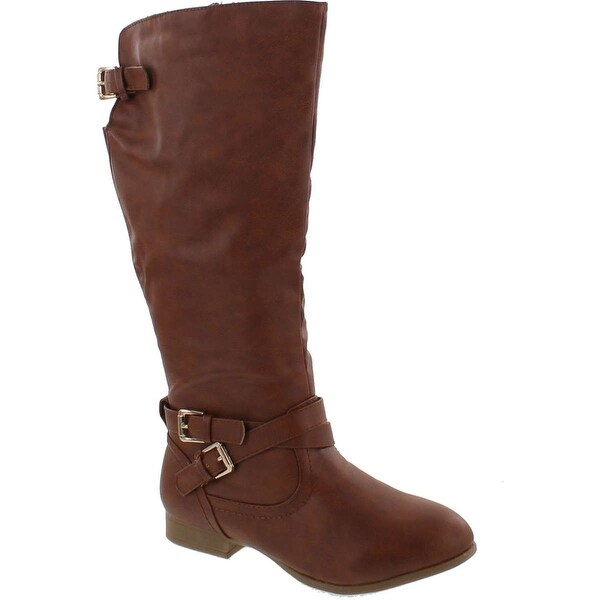 Top Moda Coco-3 Women's Knee High Buckle Riding Boots - Tan